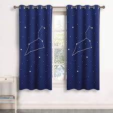 Constellation Cool Navy Teen Boys Short Window Curtains Kids Room Design