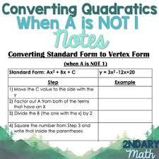 converting quadratics from standard to