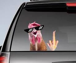 Funny Chicken Window Sticker Chicken Car Decal Funny Etsy
