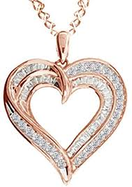 diamond double row heart pendant