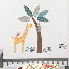 Mighty Jungle Animals Wall Decals Giraffe Sloth Tree