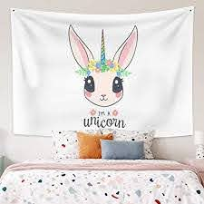Amazon Com Leowefowas Room Decor Unicorn Cute Tapestry Baby Kids Room Wall Hanging Modern Home Decoration Wall Art Blanket 59 1 X39 4 Wall Tapestry For Living Room Bedroom Home Kitchen