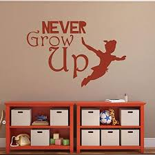 Amazon Com Peter Pan Vinyl Wall Decals Never Grow Up Kids Bedroom Decor Great For Playrooms Schools And Child Care Centers Handmade