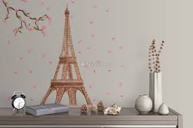 Paris Eiffel Tower With Cherry Blossom Wall Decal Sticker Wall Decals Wallmur