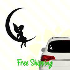 Fairy On Half Moon Vinyl Decal Window Sticker Cute Moon Pretty 043 Ebay