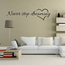 2018 New Never Stop Dreaming Quote Wall Decal Pvc Sticker Kids Room Home Decor Mural Art Wish