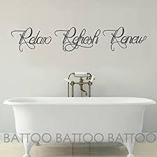 Amazon Com Battoo Bathroom Wall Art Bathroom Wall Decal Relax Refresh Renew Spa Wall Decal Bath Wall Decal Bathroom Decor Bathroom Wall Sticker Black 40 Wx7 5 H Kitchen Dining