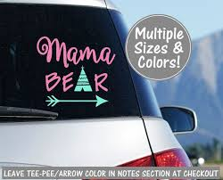 Mama Bear Car Decal Stickers For Car Decals For Moms Mom Etsy