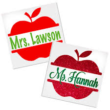 Personalized Apple Decal For Cups Tumblers Or Car Decals By Adavis