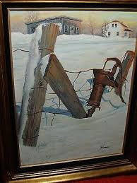 Old Vintage A Vimer Oil Cnvs Barn Farm Pump Fence Snow Winter Landscape Sunset 1544237928
