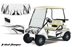 Club Car Precedent Golf Cart Graphics Tribal Flames White Golf Cart Graphic Decal Kit Golf Cart Graphic Kits Graphic Kits