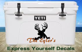 Buck Deer Hunting Name Yeti Cooler Decal By Expresyourselfdecal Monogram Decal Yeti Decals Antler Monogram