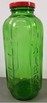 vintage green glass water bottle