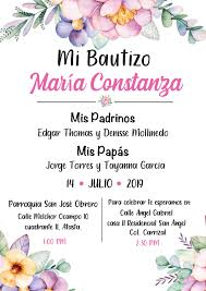 Invitacion Bautizo De Nina Con Flores En 2020 Invitaciones De