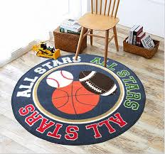 Amazon Com Baby Boy Sport Area Rug 39 Round Kids Sports Area Rug Baseball Boys Kitchen Dining