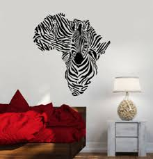 Vinyl Wall Decal Abstract Africa Continent Map Animal Zebra Stickers 3288ig Ebay