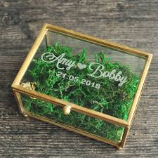 personalized ring box with glass custom