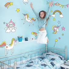 Amazon Com Unicorns And Rainbows Wall Decal Pack Large Size Girl S Room Decor Wall Stickers Baby