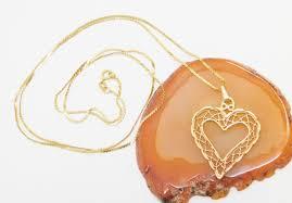 14k gold filigree large heart pendant