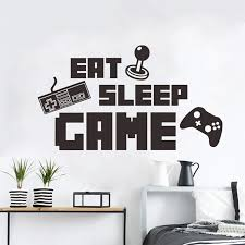 Wall Stickers Funny Eat Sleep Game Vinyl Wall Decal Lettering Poster Playroom Boys Bedrooms Decoration Environmental Protection Wall Stickers Aliexpress