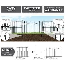 Vigoro Empire 30 In X 36 In Black Steel 3 Rail Fence Panel 860190 The Home Depot In 2020 Steel Fence Panels Steel Fence Driveway Gate Diy