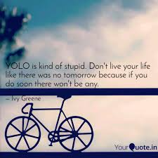 YOLO is kind of stupid. D... | Quotes & Writings by Ivy Greene | YourQuote