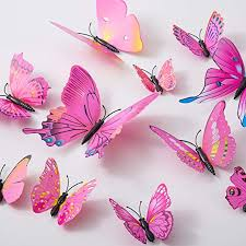 Amazon Com 36pcs Butterfly Wall Decals 3d Butterflies Decor For Wall Sticker Removable Mural Stickers Home Decoration Kids Room Bedroom Decor Pink Red Home Kitchen