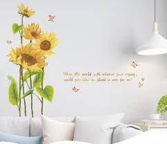 Blowing Sunflower With Butterfly Wall Stickers Leaf Plants Wall Decal Yellow Floral With Quotes Wall Mural Living Room Home Decor Girls Thefuns On Artfire