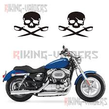 Motorcycle Sticker Pirate Skull Stickers Left Right Side Battery Cover Decals For Harley Sportster Xl883 Xl1200 48 72 Iron Decals Stickers Aliexpress