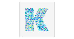 Blue Green Diamonds Wall Decal Letter K Large Zazzle Com