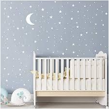 Amazon Com Moon And Stars Wall Decal Vinyl Sticker For Kids Boy Girls Baby Room Decoration Good Night Nursery Wall Decor Home House Bedroom Design Ymx16 White Arts Crafts Sewing