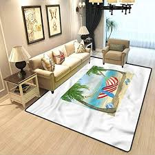 Amazon Com Beach Kids Room Home Decor Carpet Hammock Between Trees Soft Fluffy Bedroom Area Rugs W4 5 X L5 2 Feet Kitchen Dining