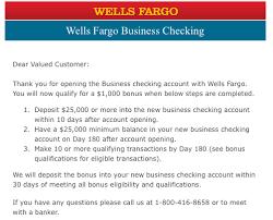 wells fargo business checking 1 000