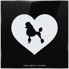 Poodle Silhouette Heart Car Window Decal Vinyl Sticker Wall Laptop Dog 7 00 Picclick