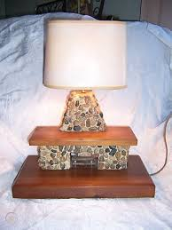 lamp folkart wood stone fireplace
