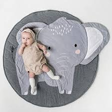 Amazon Com Hiltow Round Cartoon Elephant Nursery Rug Baby Floor Playmats Crawling Mat Game Blanket For Kids Children Room Decoration Kitchen Dining