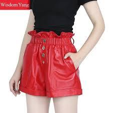 real sheep skin genuine leather shorts