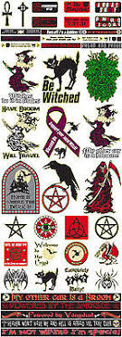 Decals Window Stickers Car White Witch Pagan Wiccan Wicca Broom Pentacle Decal