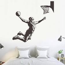Basketball Player Shoots In The Basket Wall Decal Home Decoration Removable Vinyl Wall Art Sticker Living Room Sports Mural Wall Decals Tree Wall Decals Uk From Onlinegame 11 94 Dhgate Com