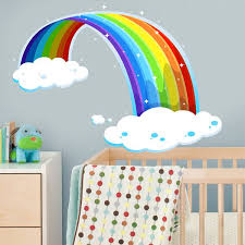 Shop Full Color Rainbow In Clouds Children S Room Full Color Wall Decal Sticker Sticker Decal 44 X 60 Overstock 15321507