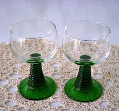 luminarc france green stem wine glasses