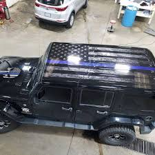 Thin Blue Line Tattered Flag With Ghosted Punisher Logo Wrap We Printed And Installed For A Client Jeep Stickers Blue Jeep Jeep Camping