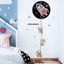 Waliicorners Rocket Space Ship Astronaut Creative Wall Sticker Child Room Decoration Outer Space Wall Decal Nursery Kids Bedroom Decor Waliicorner S Store