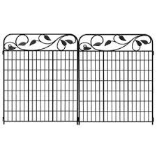 No Dig Black Powder Coated Steel Fence Panel Common 44 In X 36 In Actual 44 7 In X 36 8 In Decorative Fence Panels Fence Panels Garden Fence Panels