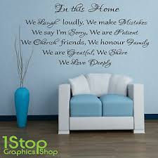 House Rules Wall Sticker Quote Family Love Bedroom Lounge Wall Art Decal X101 Ebay