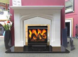 limestone fireplace on a granite hearth