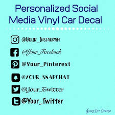 Personalized Social Media Car Decal Instagram Facebook Etsy