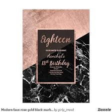 Modern Faux Rose Gold Black Marble 18th Birthday Invitation