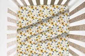 designer crib sheets sunflower nursery