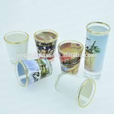 sublimation glass gold rimmed shot